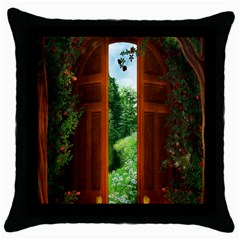 Beautiful World Entry Door Fantasy Throw Pillow Case (black) by Amaryn4rt