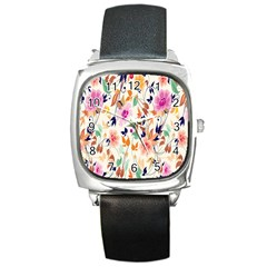 Vector Floral Art Square Metal Watch