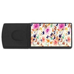 Vector Floral Art Usb Flash Drive Rectangular (4 Gb) by Amaryn4rt