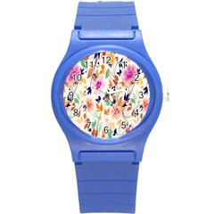 Vector Floral Art Round Plastic Sport Watch (s)