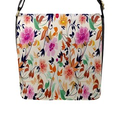 Vector Floral Art Flap Messenger Bag (l)  by Amaryn4rt