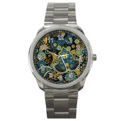 Retro Ethnic Background Pattern Vector Sport Metal Watch by Amaryn4rt