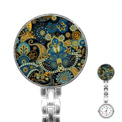 Retro Ethnic Background Pattern Vector Stainless Steel Nurses Watch by Amaryn4rt