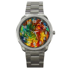 Stained Glass Patterns Colorful Sport Metal Watch by Amaryn4rt
