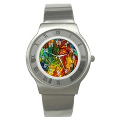Stained Glass Patterns Colorful Stainless Steel Watch by Amaryn4rt