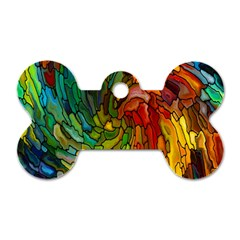 Stained Glass Patterns Colorful Dog Tag Bone (two Sides)