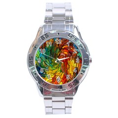 Stained Glass Patterns Colorful Stainless Steel Analogue Watch