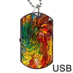 Stained Glass Patterns Colorful Dog Tag Usb Flash (two Sides) by Amaryn4rt