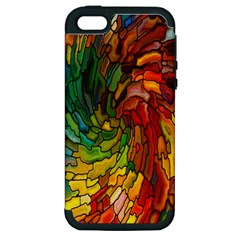 Stained Glass Patterns Colorful Apple Iphone 5 Hardshell Case (pc+silicone)