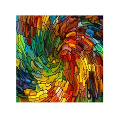 Stained Glass Patterns Colorful Small Satin Scarf (square)