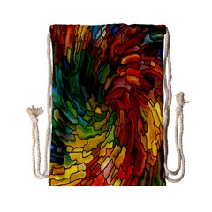 Stained Glass Patterns Colorful Drawstring Bag (small)