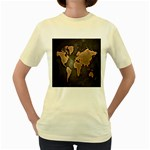 Grunge Map Of Earth Women s Yellow T-Shirt Front