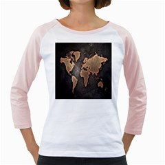 Grunge Map Of Earth Girly Raglans