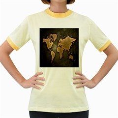 Grunge Map Of Earth Women s Fitted Ringer T Shirts