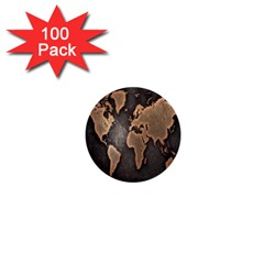 Grunge Map Of Earth 1  Mini Buttons (100 Pack)