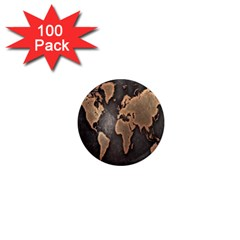 Grunge Map Of Earth 1  Mini Magnets (100 Pack)