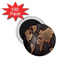 Grunge Map Of Earth 1 75  Magnets (100 Pack)