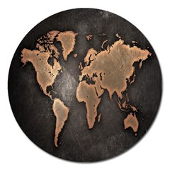 Grunge Map Of Earth Magnet 5  (round)