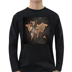 Grunge Map Of Earth Long Sleeve Dark T Shirts