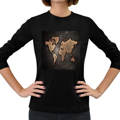 Grunge Map Of Earth Women s Long Sleeve Dark T Shirts