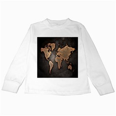 Grunge Map Of Earth Kids Long Sleeve T Shirts