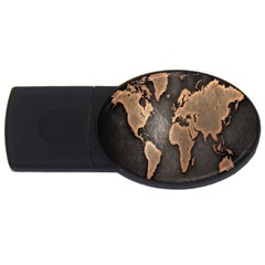 Grunge Map Of Earth Usb Flash Drive Oval (4 Gb)