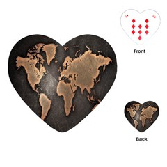 Grunge Map Of Earth Playing Cards (heart)