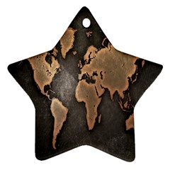 Grunge Map Of Earth Star Ornament (two Sides)