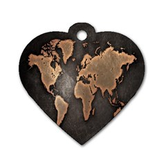 Grunge Map Of Earth Dog Tag Heart (one Side)