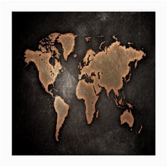 Grunge Map Of Earth Medium Glasses Cloth