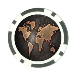 Grunge Map Of Earth Poker Chip Card Guard