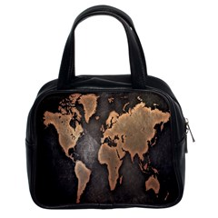 Grunge Map Of Earth Classic Handbags (2 Sides)
