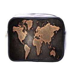 Grunge Map Of Earth Mini Toiletries Bags