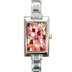 Rose Color Beautiful Flowers Rectangle Italian Charm Watch
