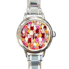 Rose Color Beautiful Flowers Round Italian Charm Watch