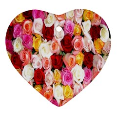 Rose Color Beautiful Flowers Ornament (heart)