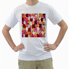 Rose Color Beautiful Flowers Men s T Shirt (white) (two Sided)