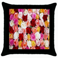 Rose Color Beautiful Flowers Throw Pillow Case (black)