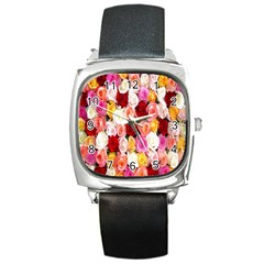 Rose Color Beautiful Flowers Square Metal Watch