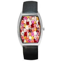 Rose Color Beautiful Flowers Barrel Style Metal Watch
