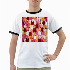 Rose Color Beautiful Flowers Ringer T Shirts