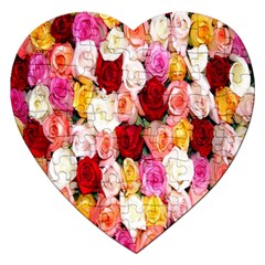 Rose Color Beautiful Flowers Jigsaw Puzzle (heart)