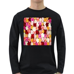 Rose Color Beautiful Flowers Long Sleeve Dark T Shirts