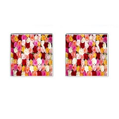 Rose Color Beautiful Flowers Cufflinks (square)