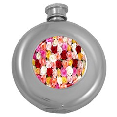 Rose Color Beautiful Flowers Round Hip Flask (5 Oz)