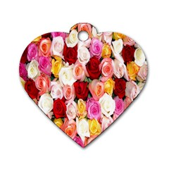 Rose Color Beautiful Flowers Dog Tag Heart (one Side) by Amaryn4rt