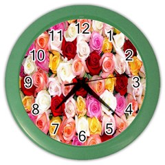 Rose Color Beautiful Flowers Color Wall Clocks