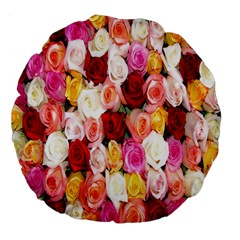 Rose Color Beautiful Flowers Large 18  Premium Flano Round Cushions by Amaryn4rt