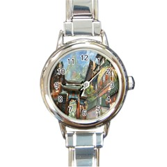 Japanese Art Painting Fantasy Round Italian Charm Watch