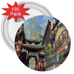 Japanese Art Painting Fantasy 3  Buttons (100 Pack)